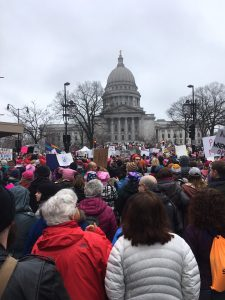 WI capital building with Women's March attendees
